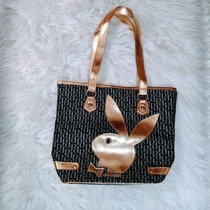 Nwot Beautiful gold on black Playboy Tote